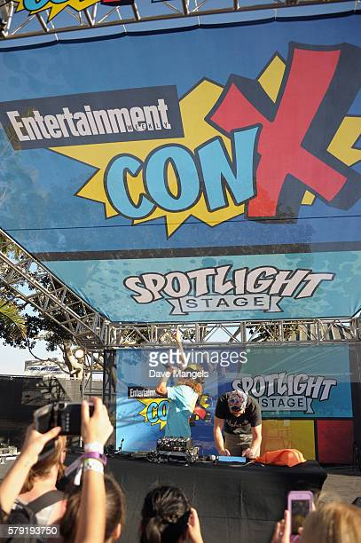 Comedians Blake Anderson and Anders Holm DJ onstage during Entertainment Weekly ConX at Embarcadero Marina Park North on July 22 2016 in San Diego...