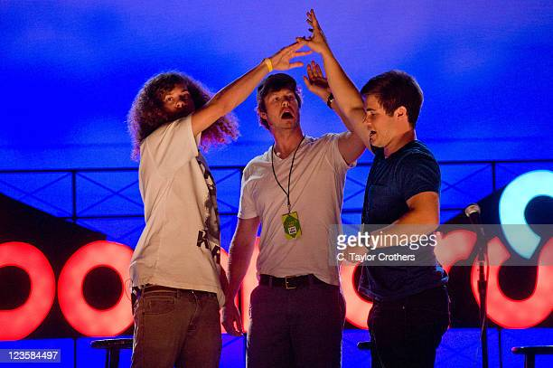 Comedians Blake Anderson Anders Holm and Adam DeVine of Workaholics perform on stage during Bonnaroo 2011 at The Comedy Theatre on June 9 2011 in...