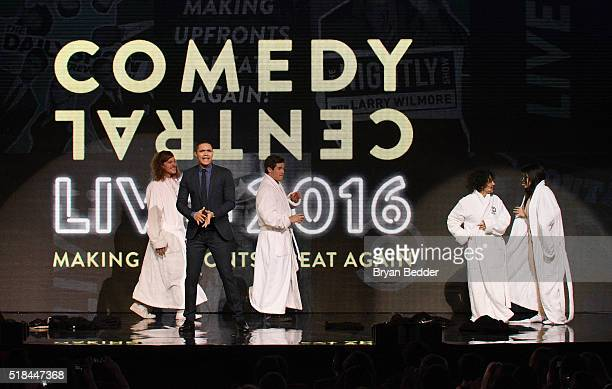 Comedians Blake Anderson Trevor Noah Adam DeVine Ilana Glazer and Abbi Jacobson appear onstage during the Comedy Central Live 2016 upfront at Town...