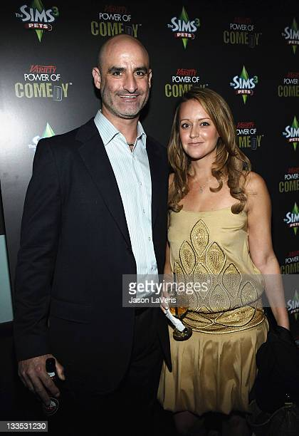 Comedians Brody Stevens and Sarah Tiana pose backstage at Variety's Power of Comedy Presented By The Sims 3 Benefiting The Noreen Fraser Foundation...