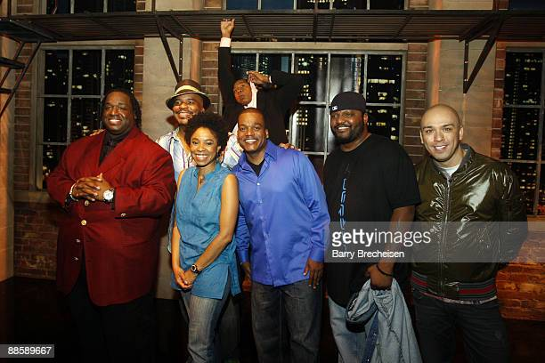 Comedians Bruce Bruce David Alan Grier Marina Franklin Mark Curry Ralph Harris Aries Spears and Jo Koy pose on stage at the Comedy You Can Believe in...