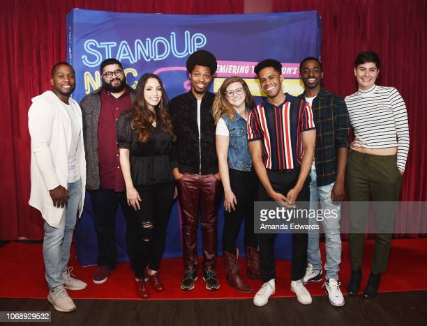 Comedians Calvin Evans Sohrab Forouzesh Luz Pazos Mike E Winfield Ali Clayton Jay Jurden Vincent Bryant and Venessa Peruda attend the 15th Annual...