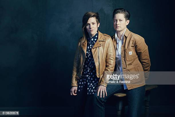 Comedians Cameron Esposito and Rhea Butcher are photographed in the Getty Images SXSW Portrait Studio powered by Samsung at the Samsung Studio on...