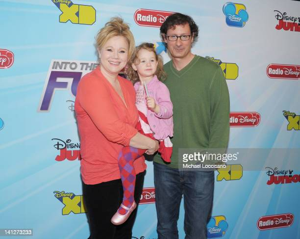 Comedians Caroline Rhea and Costaki Economopoulos and their daughter Ava Rhea Economopoulos attend the 201213 Disney Channel Worldwide Kids Upfront...