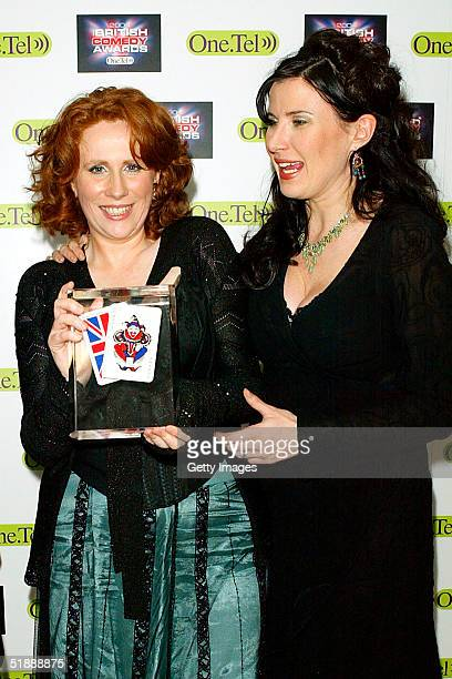 Comedians Catherine Tate with her award for Best Comedy Newcomer and Ronni Ancona pose in the Awards Room at the 'British Comedy Awards 2004' on...