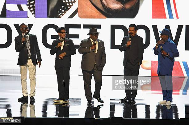 Comedians Charlie Murphy DL Hughley Cedric the Entertainer George Lopez and Eddie Griffin speak onstage during BET Networks 2016 Upfront at Rose Hall...