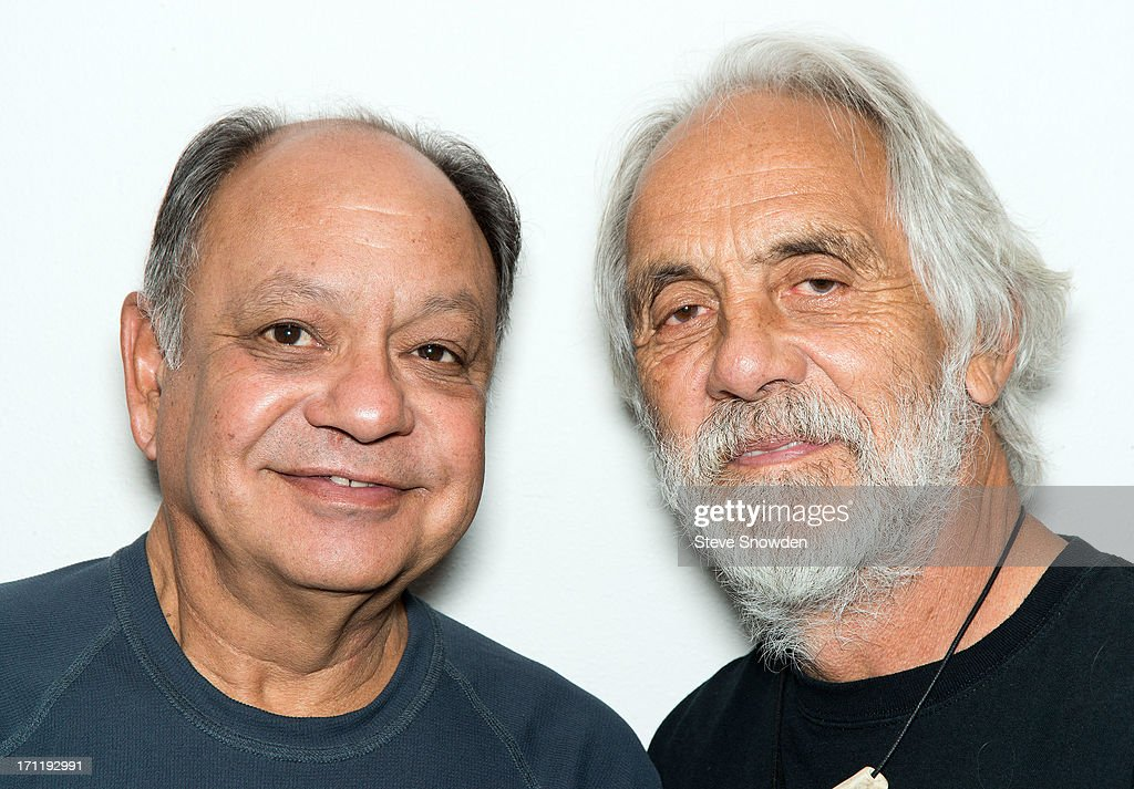Comedians Cheech & Chong pose backstage before their performance at Route 66 Casino's Legends Theater on June 22, 2013 in Albuquerque, New Mexico.
