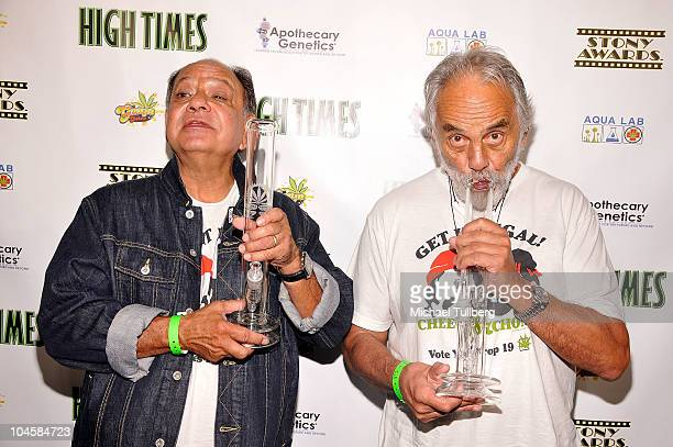 Comedians Cheech Marin and Tommy Chong arrive at High Times Magazine's 10th Annual Stony Awards on September 30 2010 in Hollywood California