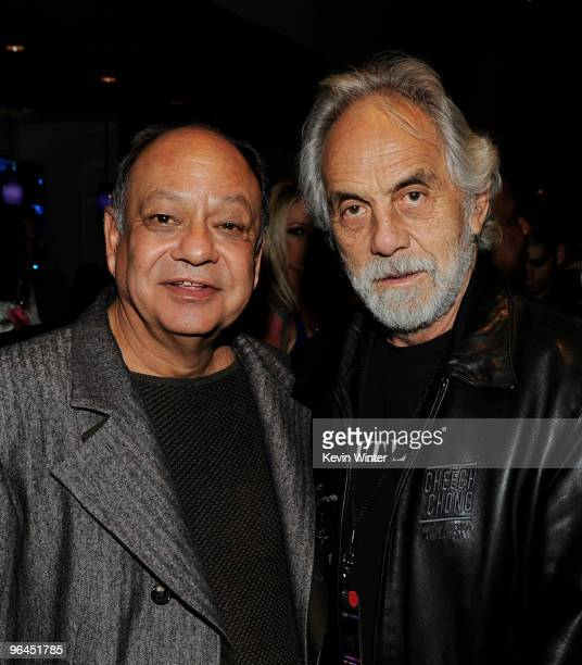 Comedians Cheech Marin and Tommy Chong pose backstage at Help Haiti with George Lopez Friends at LA Live's Nokia Theater on February 4 2010 in Los...