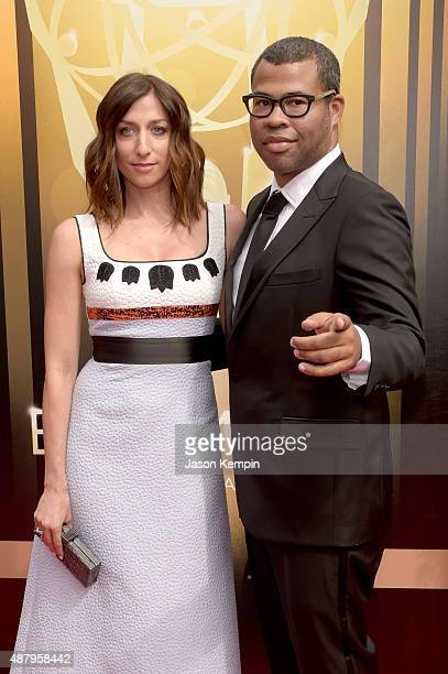 Comedians Chelsea Peretti and Jordan Peele attend the 2015 Creative Arts Emmy Awards at Microsoft Theater on September 12 2015 in Los Angeles...