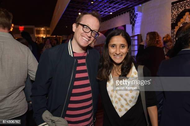 Comedians Chris Gethard and Aparna Nancherla attend truTV Presents 'The Problem With Apu' DOC NYC screening and reception at Rahi on November 14 2017...
