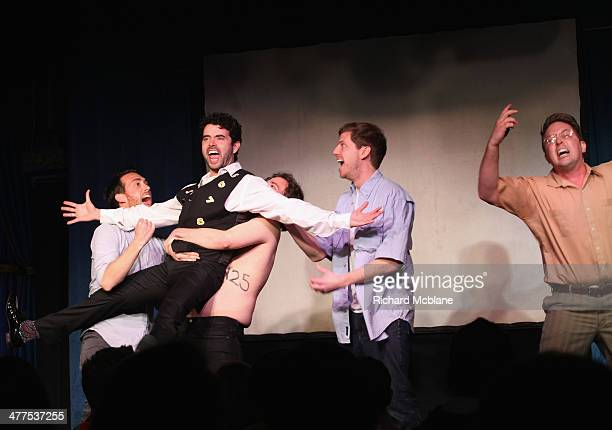 Comedians Dave McCary Nicholas Rutherford Kyle Mooney and Beck Bennet speak onstage at Up Next Featuring Fred Armisen during the 2014 SXSW Music Film...