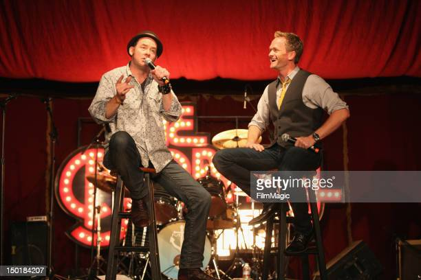 Comedians David Koechner and Neil Patrick Harris perform at the The Barbary Stage during day 2 of the 2012 Outside Lands Music and Arts Festival at...