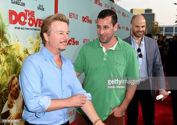 Comedians David Spade and Adam Sandler attend the premiere of Netflix's 'The Do Over' at Regal LA Live Stadium 14 on May 16 2016 in Los Angeles...