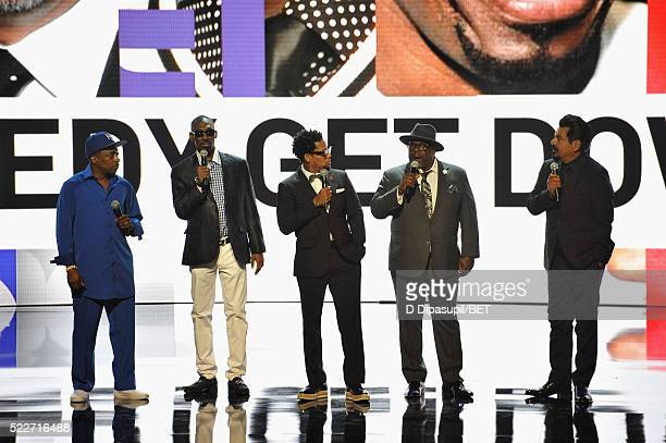 Comedians Eddie Griffin Charlie Murphy DL Hughley Cedric the Entertainer and George Lopez speak onstage during BET Networks 2016 Upfront at Rose Hall...