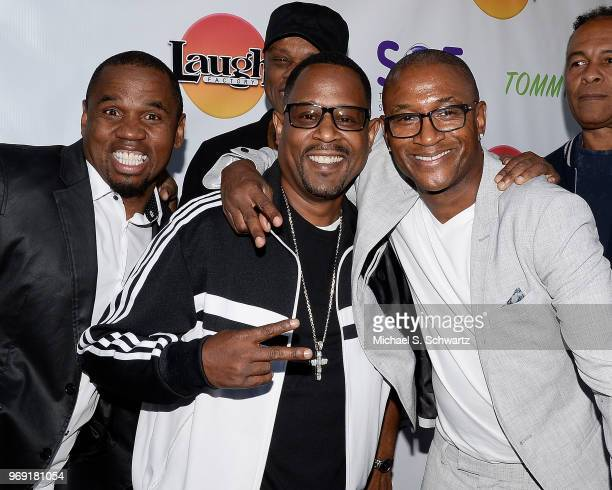 Comedians Eric Blake Martin Lawrence and Tommy Davidson attend the SarcomaOma Foundation Comedy Benefit at The Laugh Factory on June 6 2018 in West...