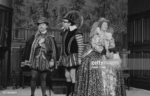 Comedians Eric Morecambe and Ernie Wise in a sketch with actress Flora Robson for the BBC television series 'The Morecambe and Wise Show' November...