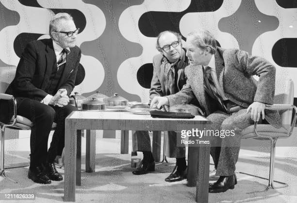 Comedians Eric Morecambe and Ernie Wise with actor Allan Cuthbertson in a sketch from the BBC television series 'The Morecambe and Wise Show'...