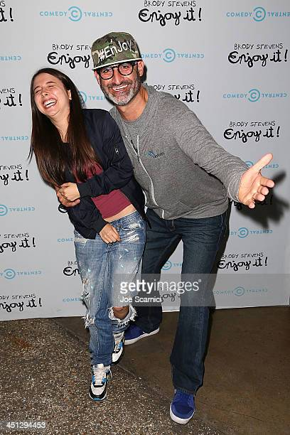 Comedians Esther Povitsky and Brody Stevens arrive at the Brody Stevens Enjoy It Premiere Party at Smogshoppe on November 21 2013 in Los Angeles...