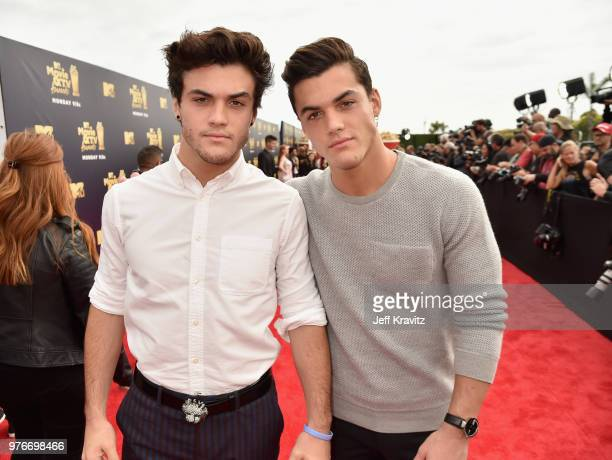 Comedians Ethan Dolan and Grayson Dolan attend the 2018 MTV Movie And TV Awards at Barker Hangar on June 16 2018 in Santa Monica California