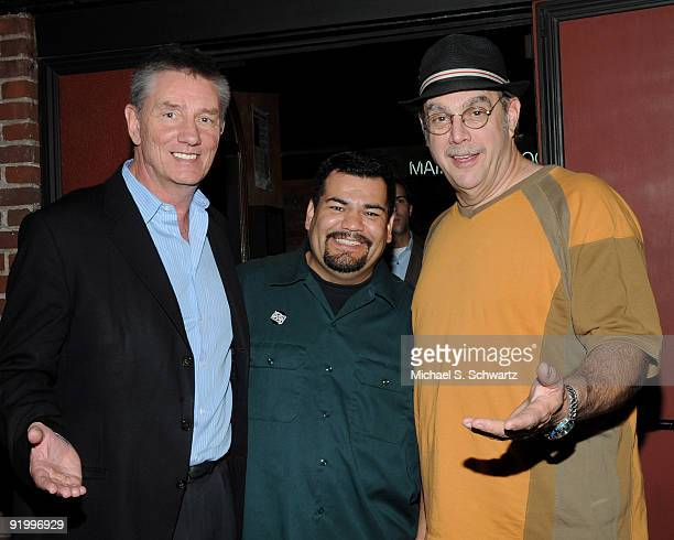 Comedians Frazer Smith Fernando Flores and radio personality Uncle Joe Benson pose at The Ice House on October 18 2009 in Pasadena California