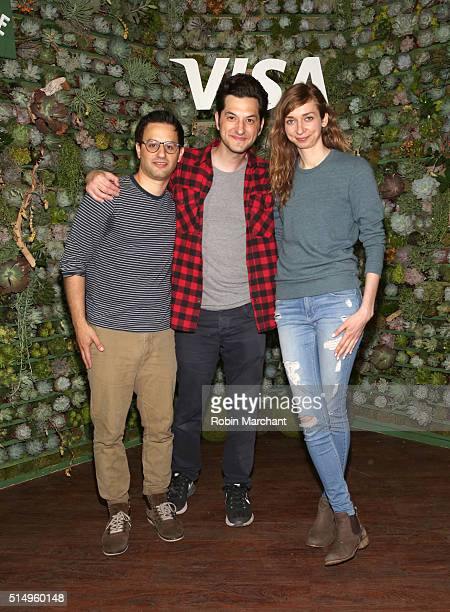 Comedians Gil Ozeri Ben Schwartz and Lauren Lapkus on stage after their performance where they announced Visa's firstever API Developer Challenge at...