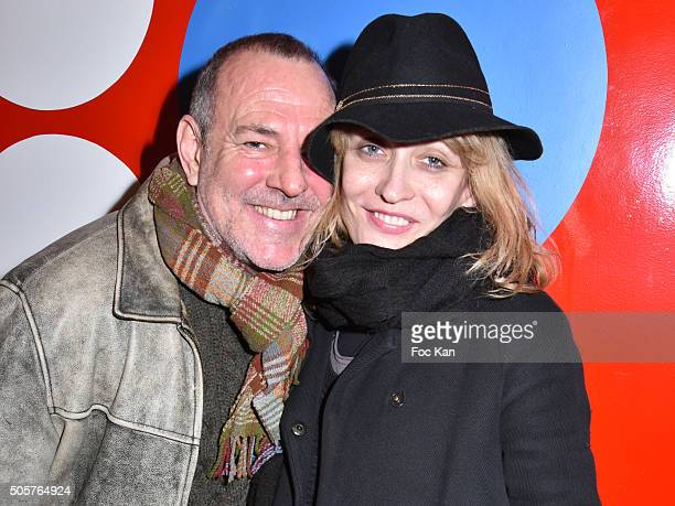 Comedians Gilles Barande and Yasna Zivanovich attend the 'Polish Hope' Short Movie Screening Party at Cinema Grand Action on January 19 2016 in Paris...
