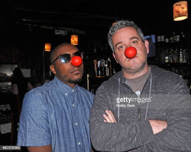 Comedians Gordon Baker Bone and Ken Krantz promoting 'Red Nose Day' at The Stress Factory Comedy Club on May 12 2017 in New Brunswick New Jersey