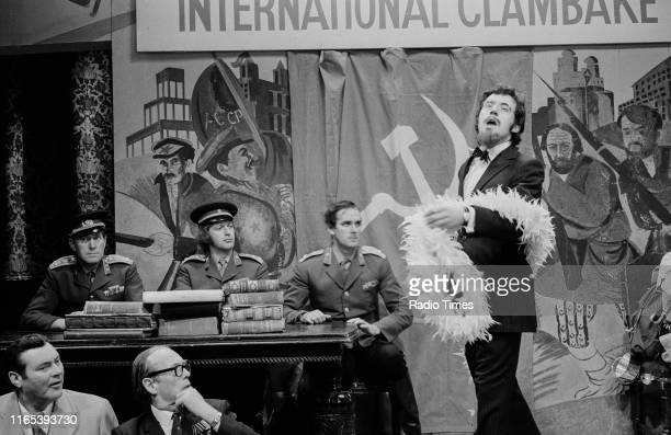Comedians Graham Chapman John Cleese and Terry Jones in a sketch from the BBC television series 'Monty Python's Flying Circus' May 4th 1972