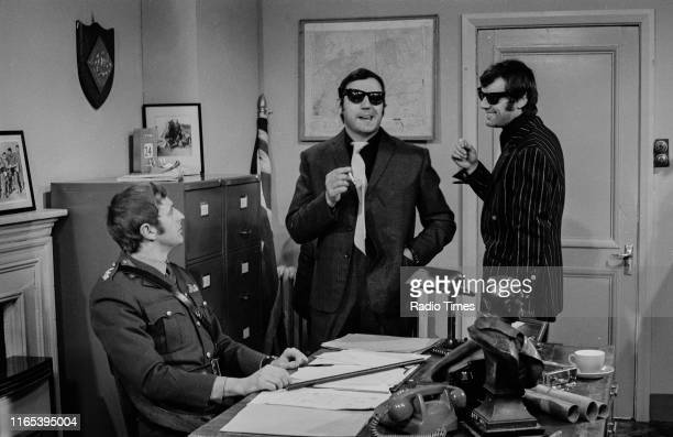 Comedians Graham Chapman Terry Jones and Michael Palin in a sketch from the BBC television series 'Monty Python's Flying Circus' circa 1970