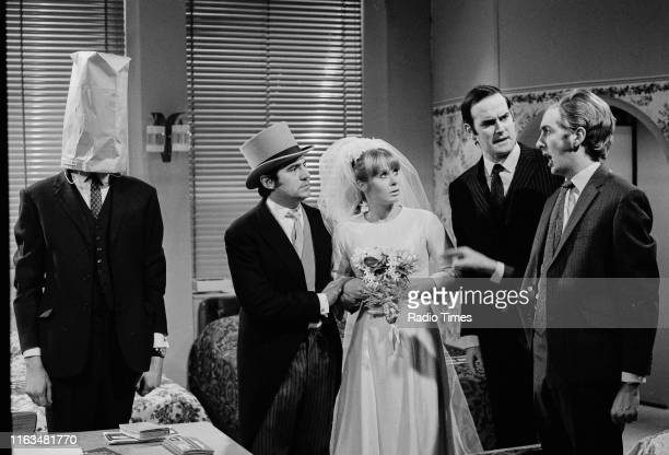 Comedians Graham Chapman Terry Jones Carol Cleveland John Cleese and Eric Idle in the 'Buying a Bed' sketch from series 1 of the BBC television show...