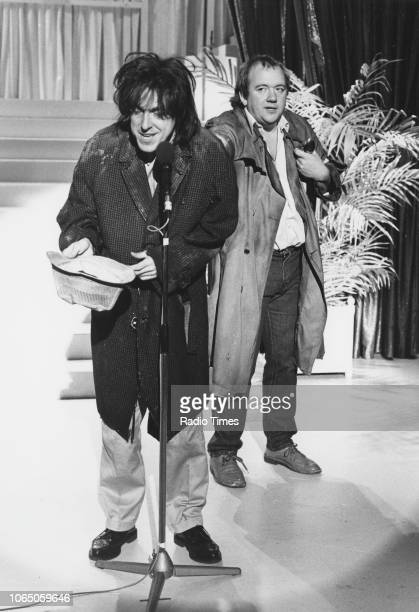 Comedians Griff Rhys Jones and Mel Smith in a sketch from the television comedy show 'Alas Smith and Jones' September 13th 1987