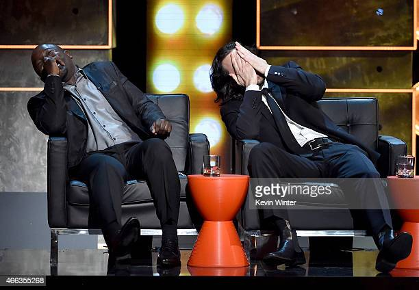 Comedians Hannibal Buress and Chris D'Elia onstage at The Comedy Central Roast of Justin Bieber at Sony Pictures Studios on March 14 2015 in Los...