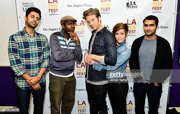 Comedians Hasan Minhaj Baron Vaughn Anthony Jeselnik Cameron Esposito and Kumail Nanjiani attend the Funny Or Die Make 'Em Laugh Showcase during the...