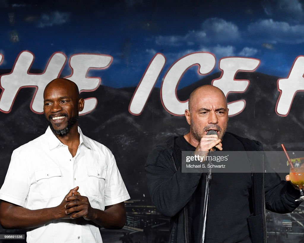 Comedians Ian Edwards (L) and Joe Rogan perform during their appearance at The Ice House Comedy Club on July 11, 2018 in Pasadena, California.