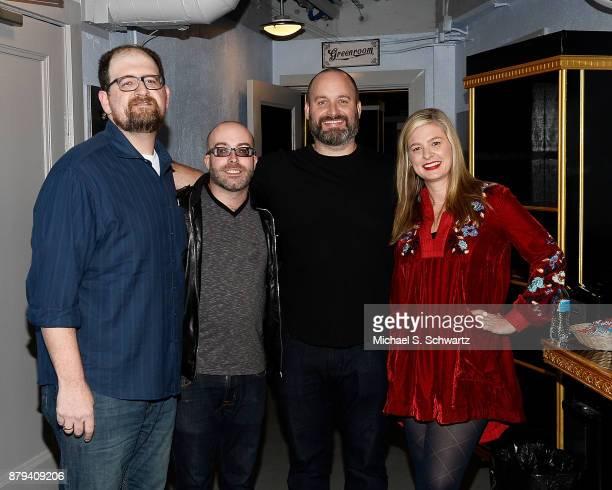 Comedians J Elvis Weinstein Josh Potter Tom Segura and Christina Pazsitzky pose backstage at Tom Segura's No Teeth No Entry Tour at The Wiltern on...