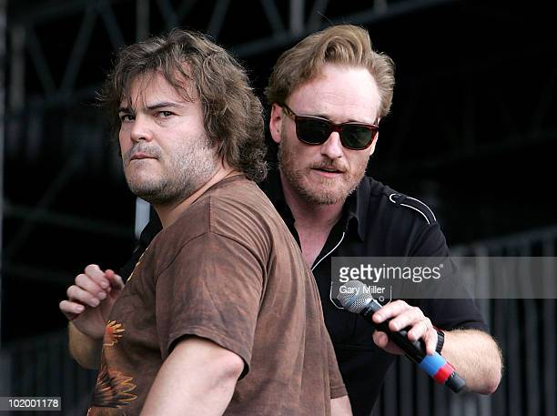 Comedians Jack Black and Conan O'Brien perform during day 2 of the Bonnaroo Music And Arts Festival at the Bonnaroo Festival Grounds on June 11, 2010...