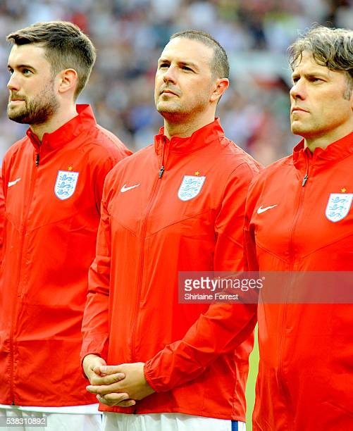 Comedians Jack Whitehall Paddy McGuinness and John Bishop play during Soccer Aid at Old Trafford on June 5 2016 in Manchester England