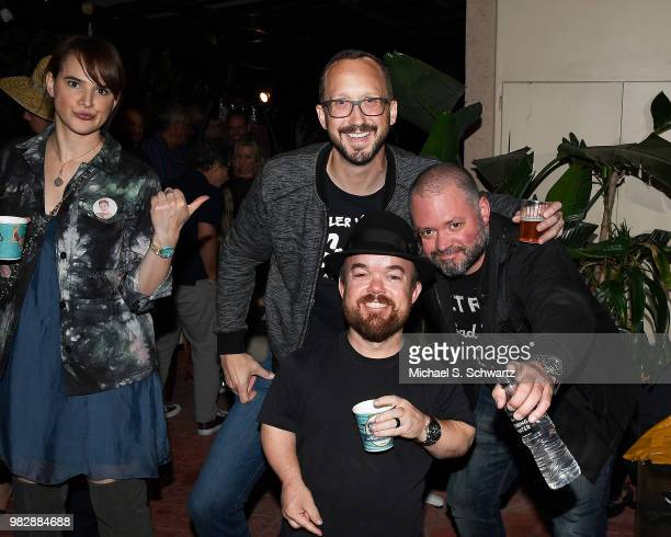 Comedians Jackie Gold Chris Porter Brad Williams and J Chris Newberg attend Comedian Ben Gleib's 40th Birthday Celebration on June 23 2018 in Sherman...