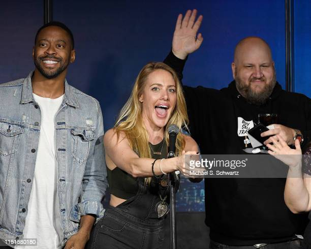Comedians Jackson McQueen Kate Quigley and Stephen Glickman perform during their appearance at The Ice House Comedy Club on June 22 2019 in Pasadena...