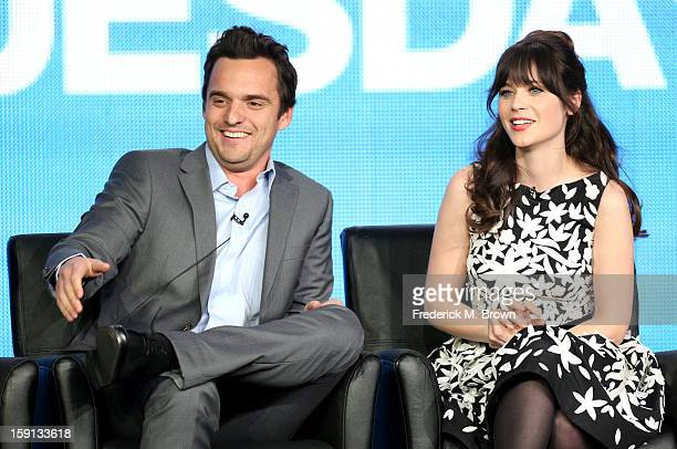 Comedians Jake Johnson and Zooey Deschanel of 'New Girl' speak onstage during the FOX portion of the 2013 Winter TCA Tour at Langham Hotel on January...