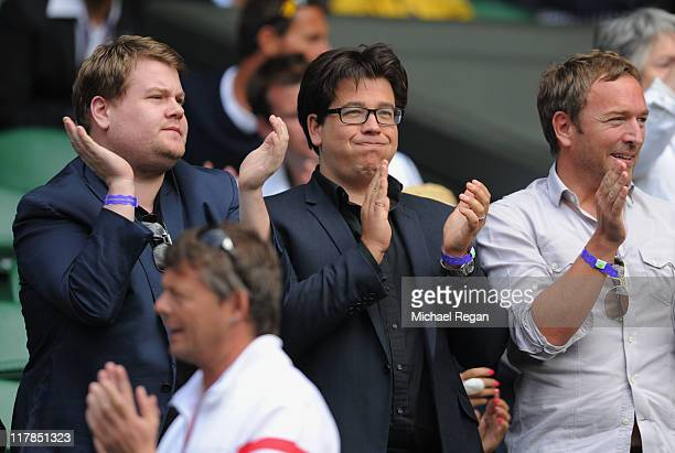 Comedians James Corden and Michael McIntyre attend the semifinal round match between Andy Murray of Great Britain and Rafael Nadal of Spain on Day...