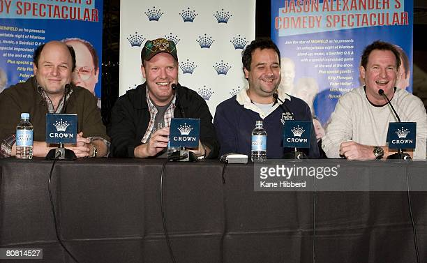 Comedians Jason Alexander Peter Helliar Mick Molloy and Russell Gilbert talk to the media during a press conference to announce the start of of...