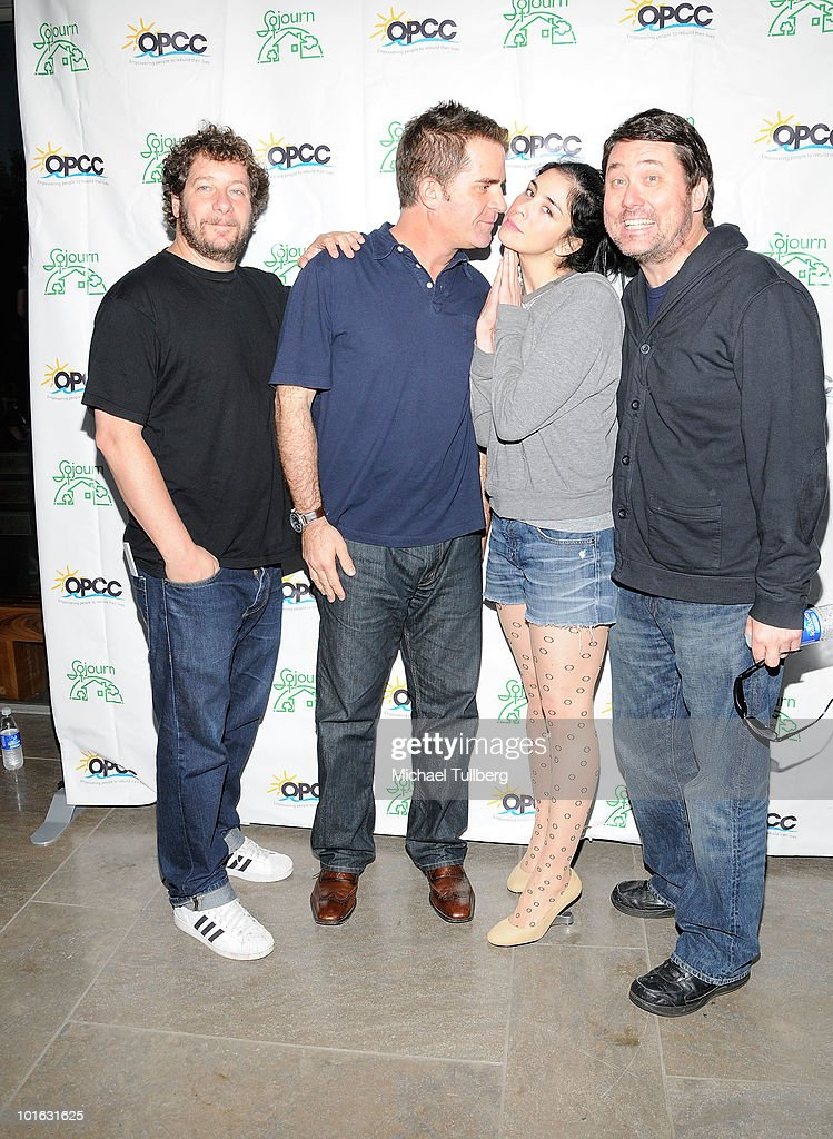 Comedians Jeff Ross, Todd Glass, Sarah Silverman and Doug Benson arrive at the Ocean Park Community Center's 4th Annual Comedy Night to combat domestic violence on June 4, 2010 in Santa Monica, California.