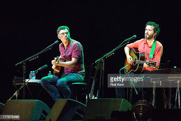 Comedians Jemaine Clement and Bret McKenzie of Flight of the Conchords perform on stage during the tour opener in support of the Oddball Comedy...