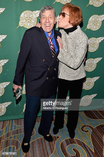 Comedians Jerry Lewis and Carol Burnett attend the International Cinematographers Guild Presents The 51st Annual Publicists Awards Luncheon at Regent...