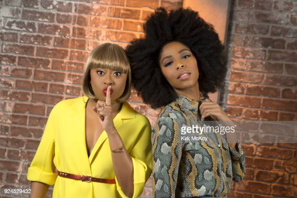 Comedians Jessica Williams and Phoebe Robinson are photographed for Los Angeles Times on February 2 2018 in Los Angeles California PUBLISHED IMAGE...