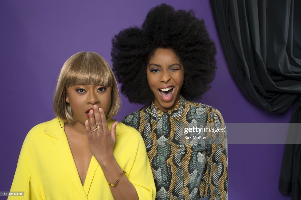 Comedians Jessica Williams and Phoebe Robinson are photographed for Los Angeles Times on February 2, 2018 in Los Angeles, California. PUBLISHED IMAGE.