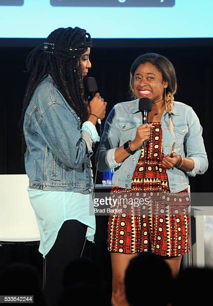 Comedians Jessica Williams and Phoebe Robinson perform onstage during the 2 Dope Queens podcast at the Vulture Festival Casper Podcast Lounge at...