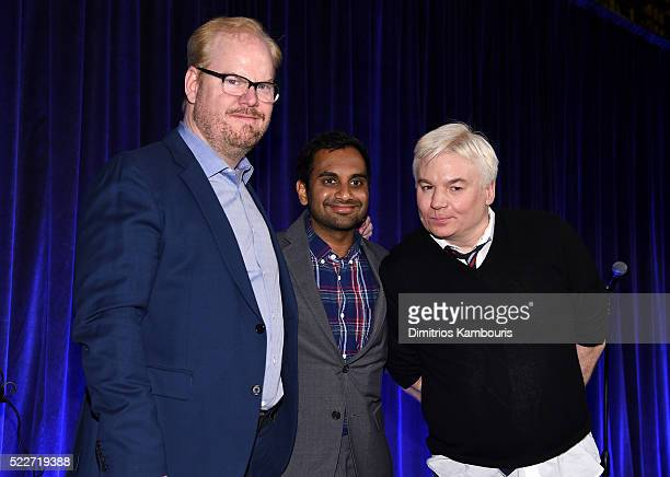 Comedians Jim Gaffigan Aziz Ansari and Mike Meyers speak on stage at the Food Bank Of New York City's Can Do Awards 2016 hosted by Mario Batali at...